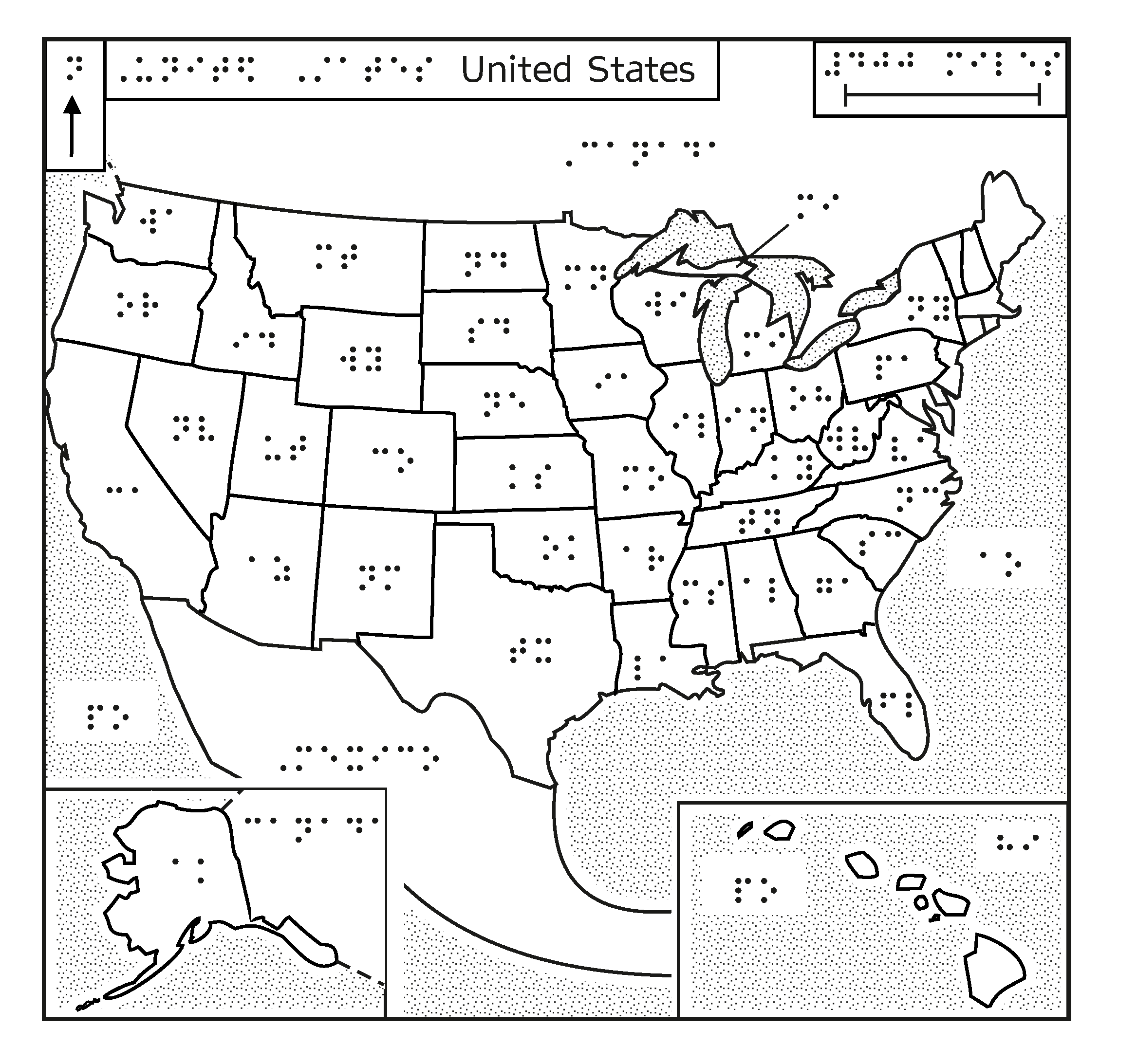 Braille map of the USA
