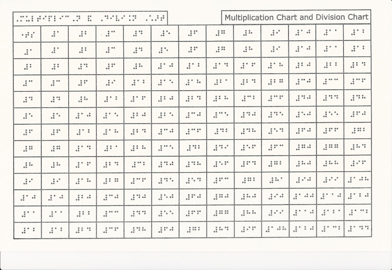 Tactile math aids multiplication and division chart literary tactile math aids multiplication and division chart literary nvjuhfo Image collections
