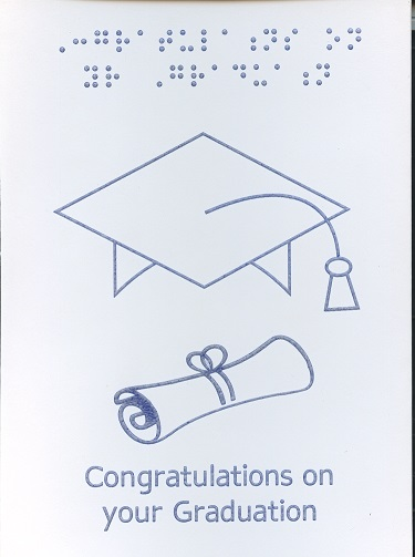 Braille and Tactile Greeting Card Graduation Scroll