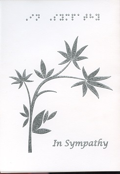 Braille and Tactile Greeting Card In Sympathy , Two Stylized Leaves