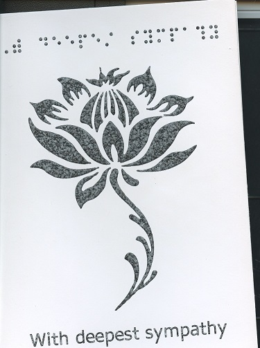 Braille and Tactile Greeting Card - Deepest Sympathy Lotus