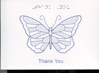 Braille and Tactile Greeting Card Thank You – Butterfly