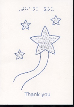 Braille and Tactile Greeting Card Thank You – Stars