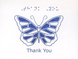 Braille and Tactile Greeting Card Box of Small Blank Thank You – Butterfly