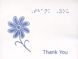 Braille and Tactile Greeting Card Box of Small Blank Thank You – Daisy