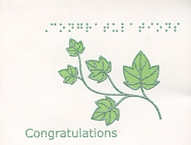 Braille and Tactile Greeting Card Box of Small Blank Congratulations – Ivy