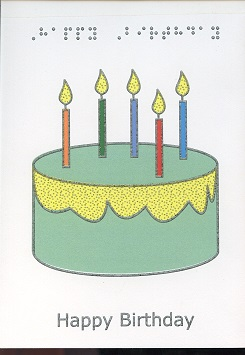 Braille Greeting Card Birthday Candles Colours