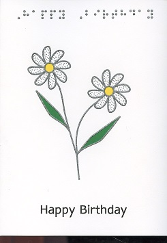 Braille and Tactile Greeting Card Birthday Flowers