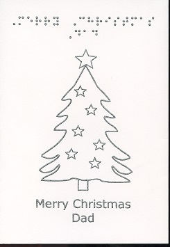 Braille and Tactile Greeting Card Merry Christmas Dad – Decorated Tree