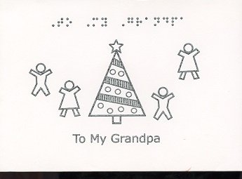Braille and Tactile Greeting Card Christmas Card – To My Granpa