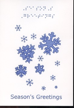 Braille and Tactile Greeting Card Season's Greetings – Snowflakes