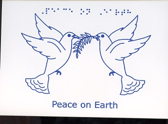 Braille and Tactile Greeting Card Peace On Earth – Two Doves