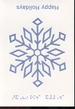 Braille and Tactile Greeting Card Happy Holidays – One Snowflake