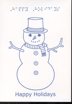 Braille and Tactile Greeting Card Happy Holidays – Twig Snowman Coloured