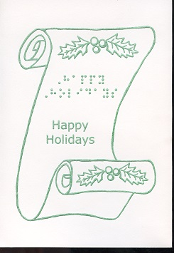 Braille and Tactile Greeting Card Happy Holidays – Scroll