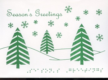 Braille and Tactile Greeting Card Season'S Greetings – Green Trees Text At the Bottom