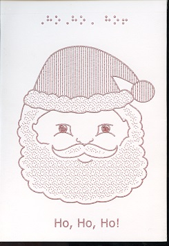 Braille and Tactile Greeting Card Ho! Ho! Santa