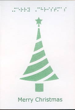 Braille and Tactile Greeting Card Merry Christmas – Stylised Tree