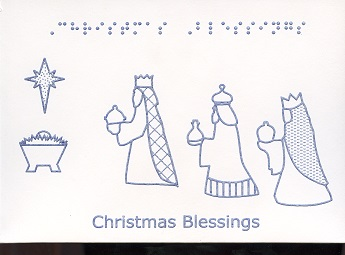 Braille and Tactile Greeting Card Christmas Blessings Monocolour