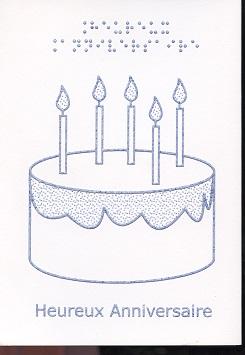 Carte de Vœux Jolie, Braille et Tactile, Heureux Anniversaire – Gâteau