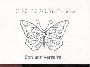 Carte de Vœux en Braille et Tactile Bon Anniversaire – Papillon