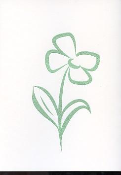 Tactile Greeting CardStylised Pansies Green