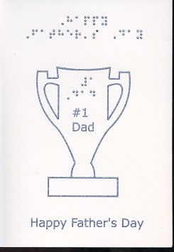 fathers day trophy card braille and tactile greeting card s day trophy 4450