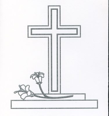 Braille and Tactile Greeting Card In Sympathy, Cross-Shaped Monument