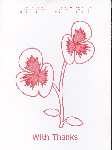 Braille and Tactile Greeting Card Thank You – Pansies