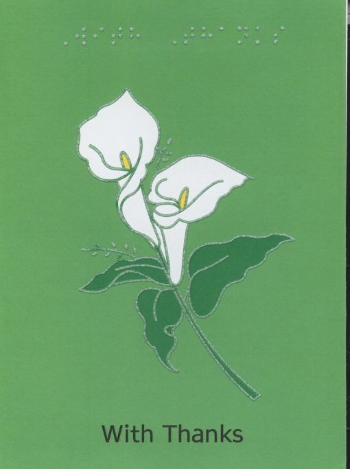 Braille and Tactile Greeting Card Arums with Thanks