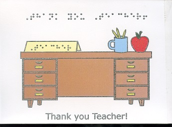 Braille and Tactile Greeting Card Thank You Teacher – Desk With Apple