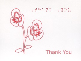 Braille and Tactile Greeting Card Box of Small Blank Thank You – Pansies
