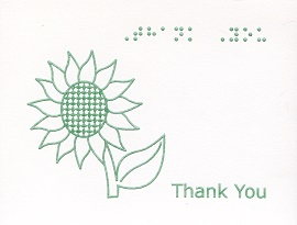 Braille and Tactile Greeting Card Box of Small Blank Thank You – Sunflower