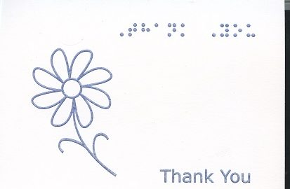 Braille and Tactile Greeting Card Box of Small Blank Thank You – Daisy coloured