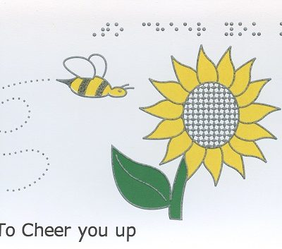 Braille and Tactile Greeting Card Get Well – Bee and Sunflower