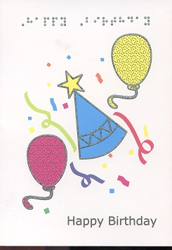 Braille and Tactile Greeting Card Birthday Hat