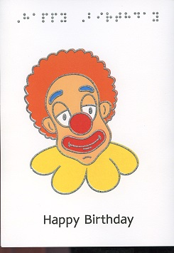Braille and Tactile Greeting Card Birthday Clown