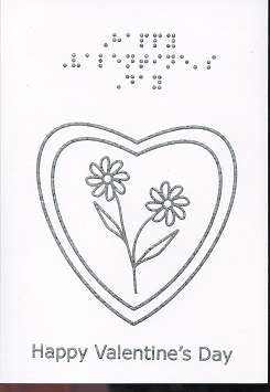 Braille and Tactile Greeting Card Valentine Daisies