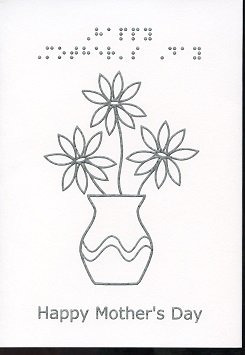 Braille and Tactile Greeting Card Mother'S Day Vase