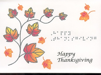 Braille and Tactile Greeting Card Happy Thanksgiving – Autumn Branch
