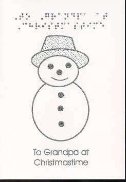 Braille and Tactile Greeting Card To Grandpa At Christmas – Snowman