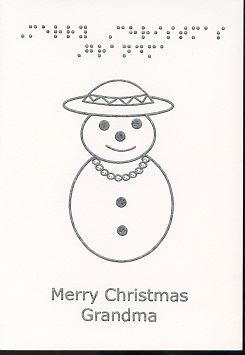 Braille and Tactile Greeting Card Merry Christmas Grandma
