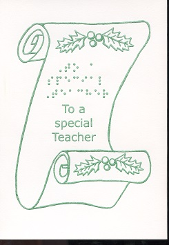 Braille and Tactile Greeting Card Merry Christmas To A Special Teacher