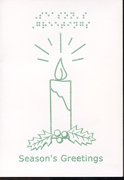 Braille and Tactile Greeting Card Season'S Greetings – Candle With Holly Monocolour