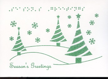 Braille and Tactile Greeting Card Season'S Greetings – Green Trees Text At the Top
