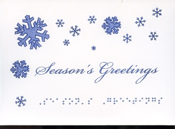 Braille and Tactile Greeting Card Season'S Greetings – Grey-Blue Snowflakes
