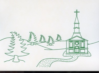 Braille and Tactile Greeting Card Winter Village Scene