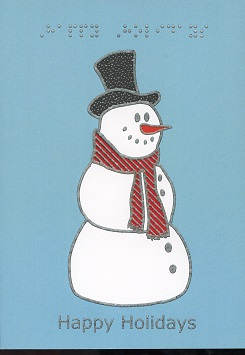 Braille and Tactile Greeting Card Happy Holidays – Jolly Snowman