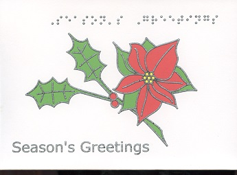 Braille and Tactile Greeting Card Season'S Greetings – Poinsettia