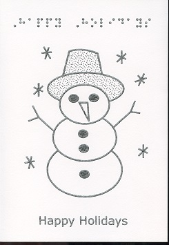 Braille and Tactile Greeting Card Happy Holidays – Twig Snowman Monocolour